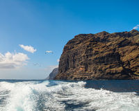 Amazing view of high cliffs from the boat. Tenerife, Canary Islands Royalty Free Stock Photos