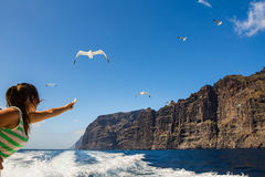 Amazing view of high cliffs from the boat. Tenerife, Canary Islands. Amazing view of high cliffs from the boat. Location: Los Gigantes, Tenerife, Canary Islands Royalty Free Stock Image