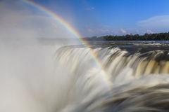 Amazing view of the Iguassu Falls and rainbow. Stock Photos