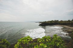 View of the Indian Ocean from the south of Bali beach royalty free stock image