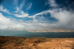 Amazing view on isle and blue sky from Lanzarote Stock Images