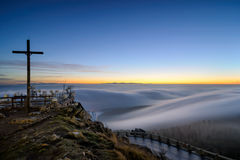Amazing view from Jested mountain peak. Beautiful foggy morning, Czech republic. Stock Image