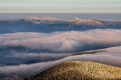 Amazing view from Jested mountain peak . Typical snowy morning, Czech republic. Stock Photo