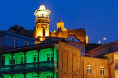 Abanotubani district at night, Tbilisi, Georgia. Amazing View of Jumah Mosque, Sulphur Baths and famous colorful balconies in old historic district Abanotubani Stock Photography