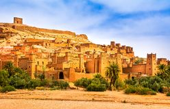 Amazing view of Kasbah Ait Ben Haddou near Ouarzazate in the Atl. As Mountains of Morocco. UNESCO World Heritage Site since 1987. Artistic picture. Beauty world royalty free stock photography