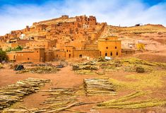 Amazing view of Kasbah Ait Ben Haddou near Ouarzazate in the Atl Royalty Free Stock Photos