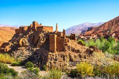 Amazing view of a Kasbah`s ruin on the way to Kasbah Ait Ben Had stock photography