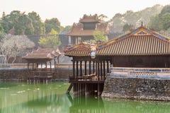 Amazing view of the Tu Duc Royal Tomb, Hue, Vietnam. Amazing view of Khiem Cung Gate, Du Khiem Pavilion and Xung Khiem Pavilion by Luu Khiem Lake at the Tu Duc royalty free stock image