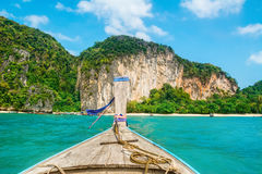 Amazing view of Koh Hong island from traditional thai longtale b Stock Photography