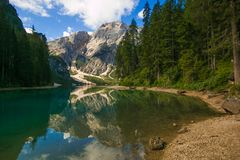 Amazing view of Lago di Braies Pragser Wildsee, one of the most beautiful lake in South Tirol, Dolomites mountains, Italy stock photography