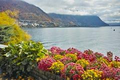 Amazing view Lake Geneva and Alps, Montereux, canton of Vaud Royalty Free Stock Image
