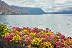Amazing view of Lake Geneva and Alps, Montereux, Switzerland Royalty Free Stock Image