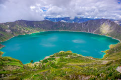 Amazing view of lake of the Quilotoa caldera. Quilotoa is the western volcano in Andes range and is located in andean Royalty Free Stock Image