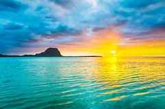 Amazing view of Le Morne Brabant at sunset.Mauritius. Stock Photos
