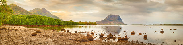 Amazing view of Le Morne Brabant at sunset. Mauritius. Panorama Stock Photo