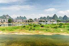 Amazing view of the Li River and Yangshuo Town, China stock images