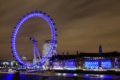 Amazing view of London Eye at night Stock Photos