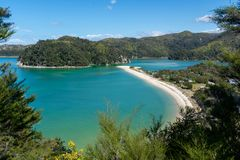 Amazing view of a long beach with turquoise water in Abel Tasman National Park. New Zealand royalty free stock photography