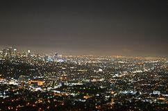 Amazing View of Los Angeles at night Stock Photos