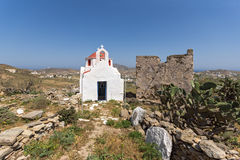 Amazing view of medieval fortress and White church, Mykonos island, Greece Stock Images