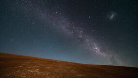An amazing view of the Milky Way rising in Atacama Desert night sky while the Moon sets. An awe view of the stars and all the
