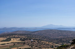 Amazing view from a mountain in Iraklia island, Cyclades, Greece Royalty Free Stock Photos