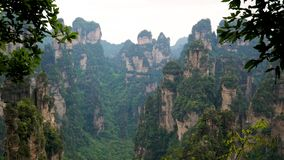 View mountain landscape Zhangjiajie park with stone pillars and rock formations. Amazing view of mountain landscape with stone pillars and rock formations in stock video