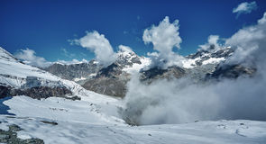 Amazing View of the mountain range near the Matterhorn in the Swiss Alps Royalty Free Stock Images