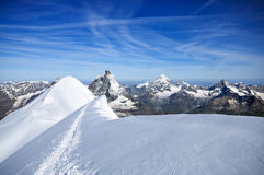 Amazing view in the mountains. Beautiful view of the Mattherhorn Stock Photos
