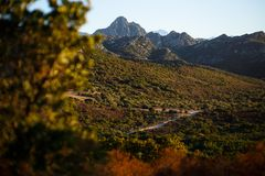 Amazing view of mountains of the Corsica island, France. Horizontal view royalty free stock images