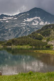 Amazing view of Muratovo Lake and reflection of Banski Suhodol Peak, Pirin Mountain. Bulgaria Stock Images