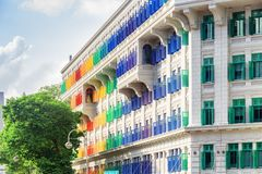 Amazing view of the Old Hill Street Police Station, Singapore. Singapore - February 19, 2017: Amazing view of colorful facade of the Old Hill Street Police stock photos