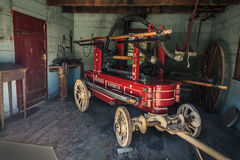 Amazing view of old vintage, retro, classic fire pump vehicle, trailer in the garage Stock Photography