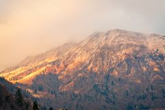 Amazing view of the Orobie Alps at sunset. Awesome view of the Orobie Alps at sunset, north Alps autumn / winter, the mountain is a little snow-covered ,Oltre il stock photography