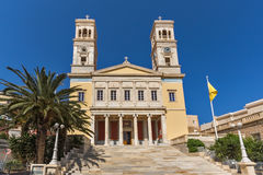 Amazing View of Orthodox Cathedral of Saint Nicholas, town of Ermopoli, Syros, Greece Royalty Free Stock Image