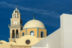 Amazing view of orthodox church in town of Firostefani, Santorini island, Thira, Greece Royalty Free Stock Image