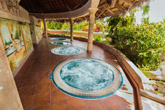 Amazing view of outdoor spa room with hydro massage working Jacuzz. Holguing Province, Playa Pesquero hotel, Cuba, Sep. 4, 2016, inviting amazing view of outdoor Stock Photo