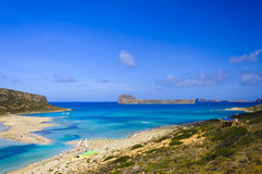 Amazing view over Balos Lagoon and Gramvousa island on Crete Stock Photo