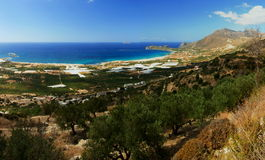 Amazing view over the bay of Falassarna, Crete island, Greece Royalty Free Stock Photography
