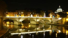 Amazing view over River Tiber in Rome by night with Vatican and Saint Peters Basilica. Videoclip stock video