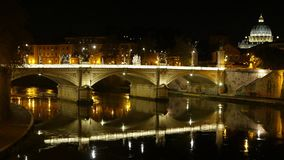 Amazing view over River Tiber in Rome by night with Vatican and Saint Peters Basilica stock video