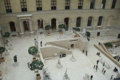Amazing view overlooking open courtyard with sightseers enjoying the day,The Louvre,Paris,France,2016 Royalty Free Stock Photos