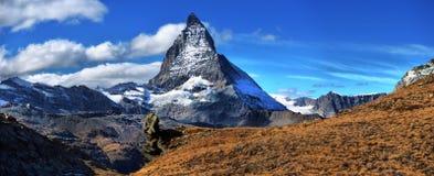Amazing View of the panorama mountain range near the Matterhorn Stock Photo