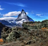 Amazing View of the panorama mountain range near the Matterhorn Stock Photography