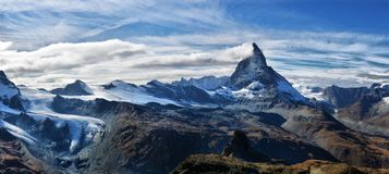 Amazing View of the panorama mountain range near the Matterhorn Royalty Free Stock Images