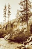 Amazing view of the Pearl Shoals Waterfall. Sepia toning stock photos