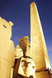 Amazing view of the pillar standing in Luxor's temple entrance, open air museum placed  in Upper Egypt, on the east bank of Nile. Stock Image