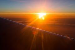 Amazing view from plane. Morning sunrise. Stock Image