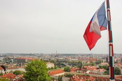 Amazing view from Prague castle to historical center of Prague,buildings and landmarks of old town. Flag of Czech stock photos