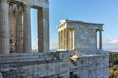 Amazing view of Propylaea - monumental gateway in the Acropolis of Athens. Attica, Greece Stock Photos
